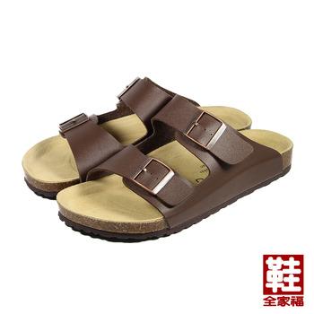 (男) LIHSING 寬帶腳床拖鞋 咖 鞋全家福