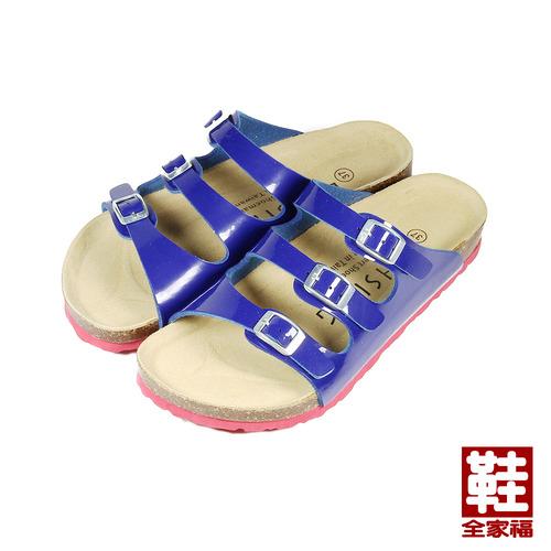 ^(女^) LIHSING 鏡面藍帶腳床拖鞋 藍鏡 鞋全家福
