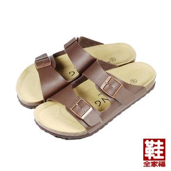 (女) LIHSING 寬帶腳床拖鞋 咖 鞋全家福