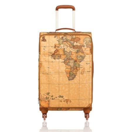 Alviero Martini 義大利地圖包 旅行商務休閒拉桿行李箱/68cm-地圖黃