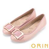 ORIN 甜美輕柔 金屬方釦造型牛皮娃娃鞋-粉紅