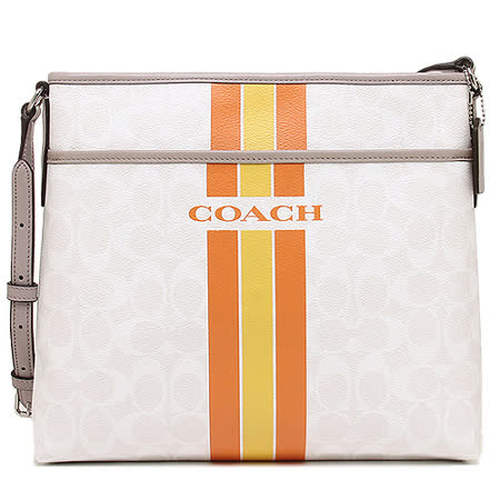COACH C LOGO 直紋 PVC斜背包(米/橘黃)