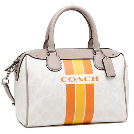 COACH C LOGO 直紋 PVC手提/斜背波士頓包(中/米/橘黃)