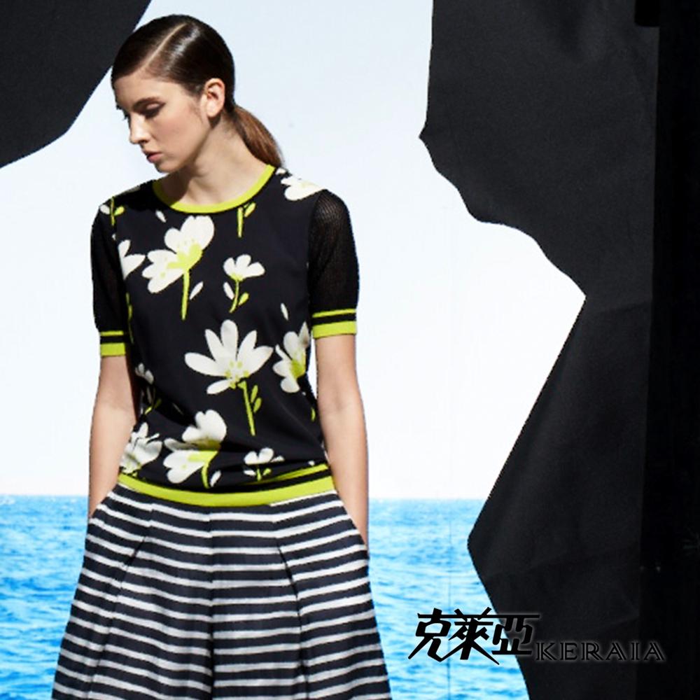 【克萊亞KERAIA】花卉混紡絲質上衣