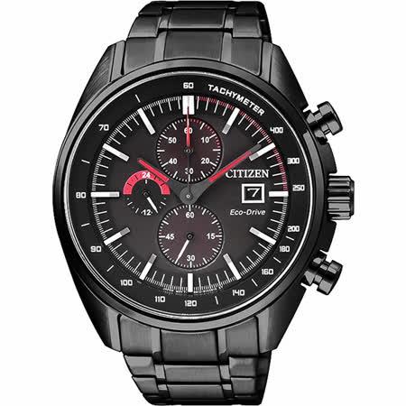 CITIZEN 光動能競速計時錶-黑/44mm CA0595-54E