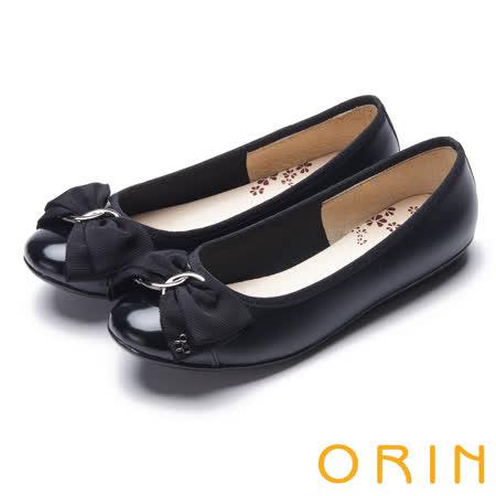 ORIN 典雅輕柔OL 立體雙織帶牛皮蝴蝶結娃娃鞋-黑色