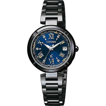 CITIZEN XC光動能40週年限量鈦電波女錶-藍x黑/28mm EC1116-56L