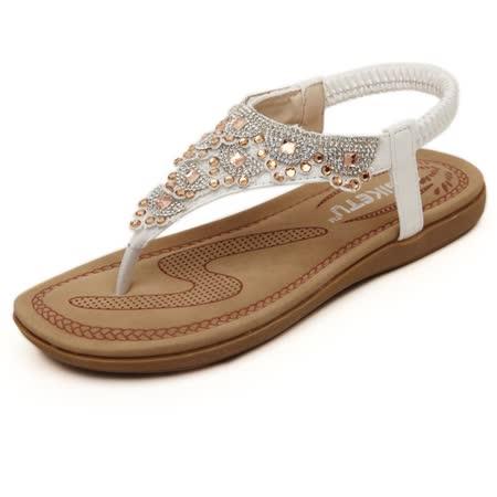 【Maya easy】甜美波西米牙風水鑽涼鞋 (白色)