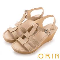 ORIN 愜意渡假風情 嚴選牛皮編織T字楔型涼鞋-米色