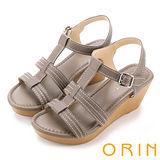 ORIN 愜意渡假風情 嚴選牛皮編織T字楔型涼鞋-灰色