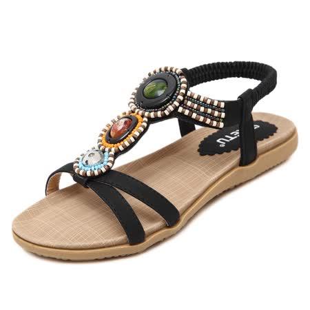 【Maya easy】土耳其串珠風情低跟涼鞋/海灘鞋 (黑色)