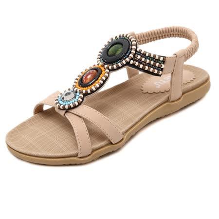 【Maya easy】土耳其串珠風情低跟涼鞋/海灘鞋 (卡其色)