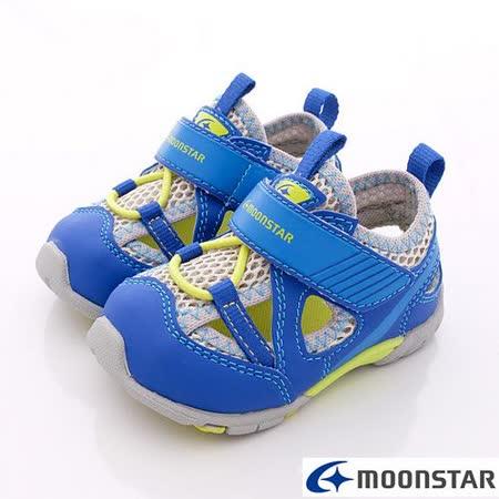 日本Carrot機能童鞋-護趾機能學步涼鞋-NB355藍-(12.5cm~14.5cm)