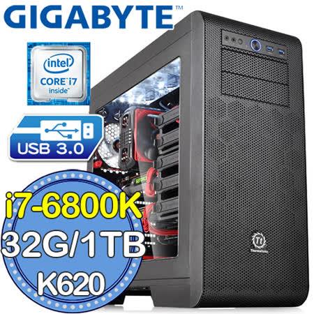技嘉X99平台【戰略競圖】Intel i7六核 QUADRO K620-2G獨顯 SSD 240G燒錄電腦