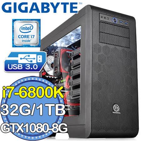 技嘉X99平台【戰略英雄】Intel i7六核 N1080G1 GAMING-8GDDR5X獨顯 SSD 240G燒錄電腦
