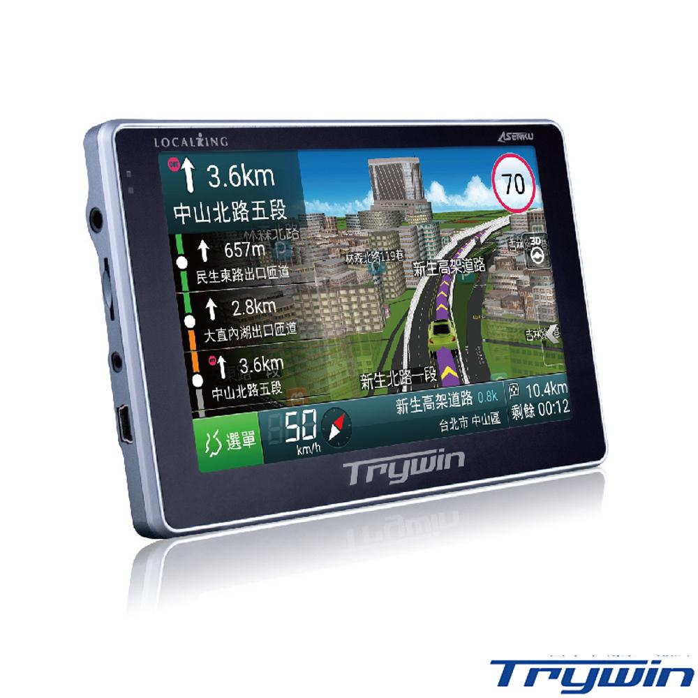 Trywin DTN-X後視鏡分離式雙鏡頭行車紀錄器688 5吋無線即時路況導航機+螢幕擦拭布