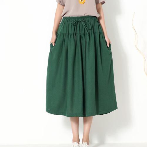 ~Stoney.ax~復古清新發燒熱單品 傘裙 寬鬆棉麻長褲裙~墨綠
