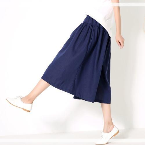 ~Stoney.ax~復古清新發燒熱單品 傘裙 寬鬆棉麻長褲裙~藏青