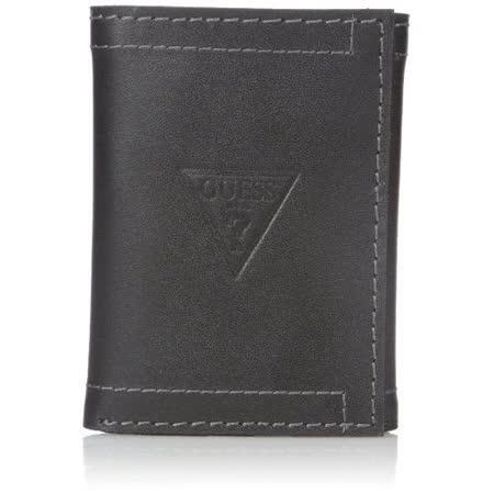 【Guess 】2016男時尚Prescott三角logo三折黑色皮夾【預購】