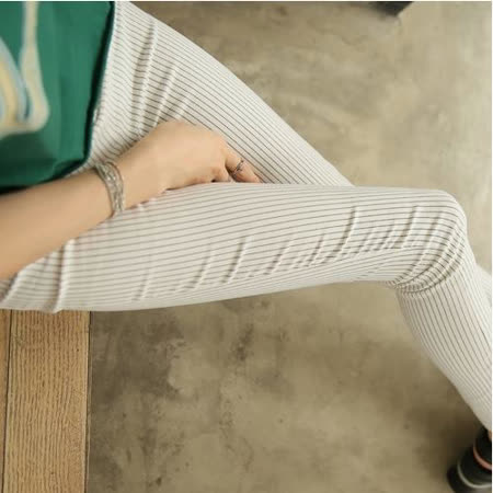 【Stoney.ax】韓版彈力修身打底顯瘦鉛筆褲-細條白