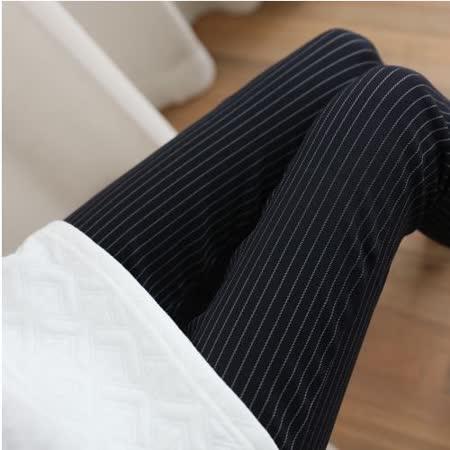 【Stoney.ax】韓版彈力修身打底顯瘦鉛筆褲-寬條深藍
