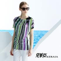 【克萊亞KERAIA】小羅馬領條紋上衣