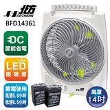 北方14吋風罩充電式DC節能箱型電風扇BFD14361