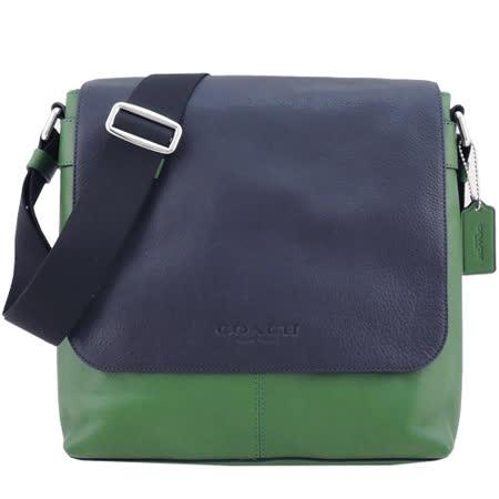 COACH 全皮革翻蓋磁釦休閒斜背包(綠)