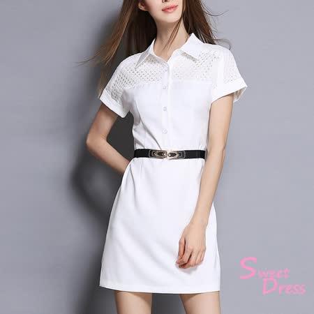 【Sweet Dress】縷空襯衫短袖洋裝(共二色)