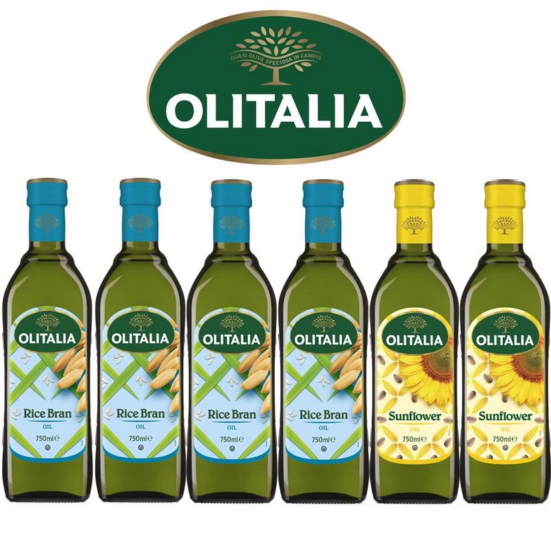 Olitalia奧利塔玄米油750mlx4瓶+葵花油750mlx2瓶-樂活料理組(共6瓶)