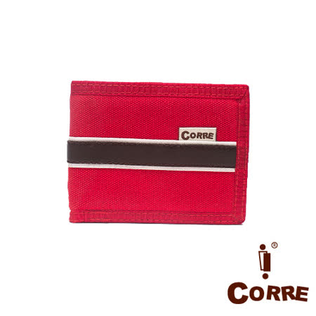 CORRE - 自我風格MIT原色系對折扣式短夾-紅