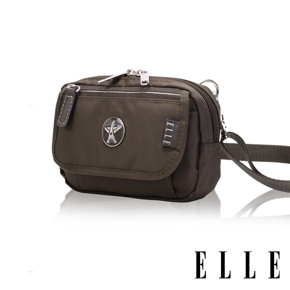 【ELLE】法式優雅時尚 旅行隨身收納包/票券包/手機包(叢林綠 大 遠 百 logoEL83472-04)
