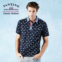 【FANTINO】男款 夏日帆船繡花80支雙絲光棉POLO衫 531346