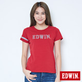 EDWIN 網路限定 運動風LOGO短袖T恤-女-紅色