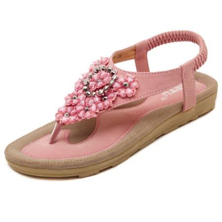 【Maya easy】甜美花卉水鑽拼接涼鞋/海灘鞋 (櫻花粉)
