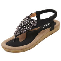 【Maya easy】甜美花卉水鑽拼接涼鞋/海灘鞋 (黑色)