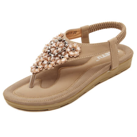 【Maya easy】甜美花卉水鑽拼接涼鞋/海灘鞋 (杏色)