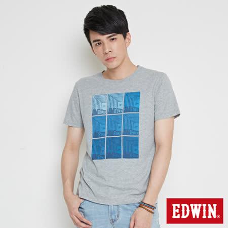 EDWIN 網路限定 九宮格疊影短袖T恤-男-麻灰