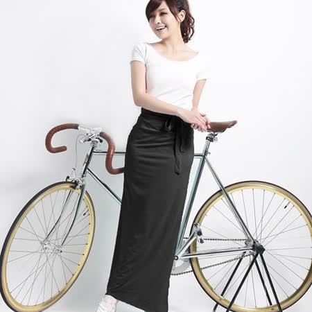 【遊遍天下】MIT涼感抗UV防曬吸排多功能一片裙117黑(加大尺碼)
