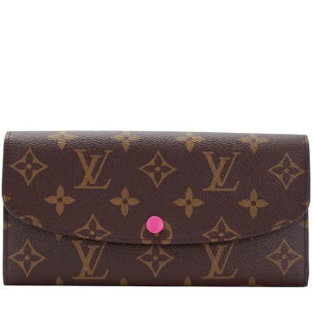 Louis Vuitton LV M41943 EMILIE 新款經典花紋扣式零錢長夾.桃紅_預購