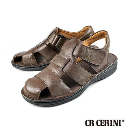 【CR CERINI】輕量氣墊式包頭涼鞋 深咖(55202-DBR)