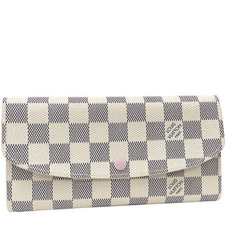Louis Vuitton LV N41625 EMILIE 白棋盤格紋扣式零錢長夾.粉紅色_預購