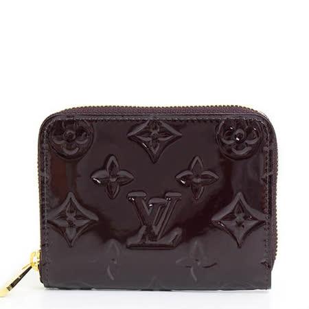 Louis Vuitton LV M93607 Vernis漆皮壓紋信用卡零錢包.紫紅色_預購