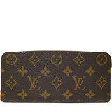 Louis Vuitton LV M42119 Clemence 經典花紋拉鍊長夾.桃紅_預購