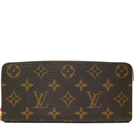 【私心大推】gohappy 購物網Louis Vuitton LV M42119 Clemence 經典花紋拉鍊長夾.桃紅_預購價錢愛 買 尿布