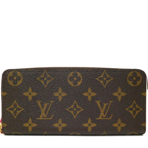 Louis Vuitton LV M42119 Clemence 花紋拉鍊長夾.桃紅_