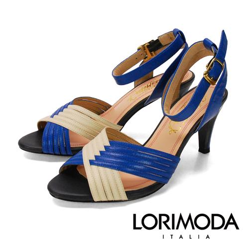 ~LORIMODA~雙色交叉編織線條 簡約真皮高跟涼鞋 PESARO.17^(藍色^)