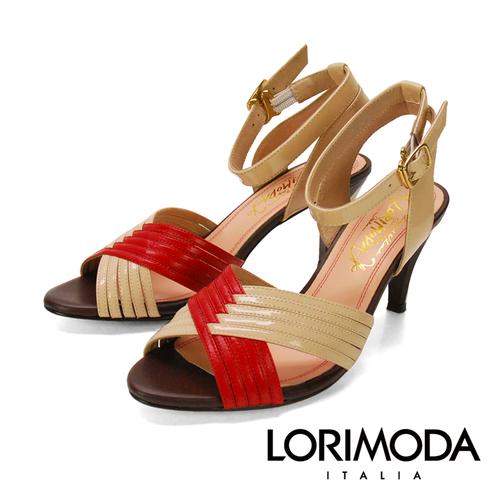 ~LORIMODA~雙色交叉編織線條 簡約真皮高跟涼鞋 PESARO.17^(紅色^)