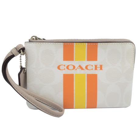 COACH 馬車LOGO條紋防水PVC扣環手拿包.白/橘黃