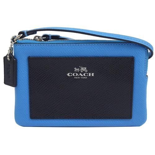 COACH 馬車LOGO撞色防刮皮革扣環手拿包.藍深藍